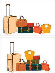 a lot of different bags are next to each other