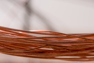 Red metal. Copper wire in production. Red wire