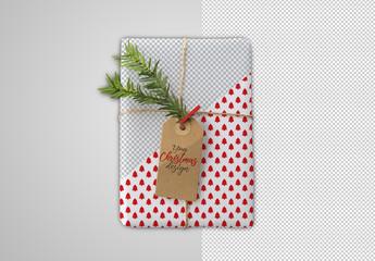 Christmas Gift and Tag Mockup
