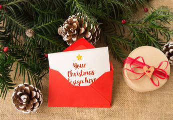 Christmas Card in Envelope Mockup