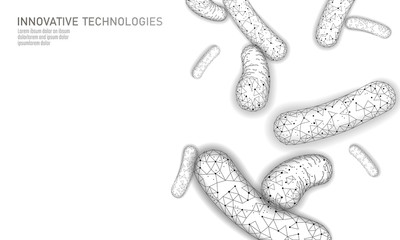 Bacteria 3D low poly render probiotics. Healthy normal digestion flora of human intestine yoghurt production. Modern science technology medicine allergy immunity thearment vector illustration