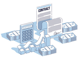 Financial contract concept, paper document and cash money stacks with calculator and growth bar chart isolated. Isometric vector business and finance illustration, 3d thin line design.