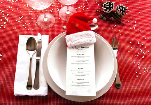 Menu on Christmas-Themed Table Mockup