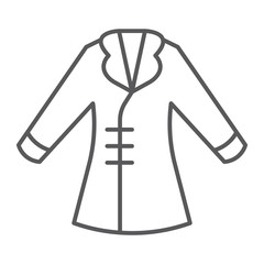 Coat thin line icon, clothing and fashion, jacket sign, vector graphics, a linear pattern on a white background.