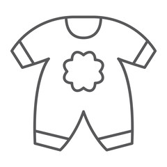 Baby clothes thin line icon, kid and clothing, body dress sign, vector graphics, a linear pattern on a white background.