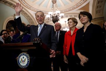 Senate Minority Leader Chuck Schumer, accompanied by Sen. Bernie Sanders (I-VT), Sen. Elizabeth Warren (D-MA), Sen. Amy Klobuchar (D-MN), speaks with reporters following leadership elections at the U.S. Capitol