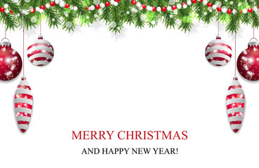 Christmas background with fir branches, beads and red baubles and ball. New Year decoration garland. Vector illustration.