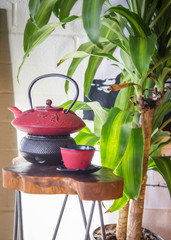 red zen tea pot sitting on wooden table great for relaxing, happiness, joy and mindfulness. green house plant sits behind tea