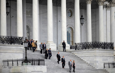 Newly elected members of Congress arrive for class photo for freshman members of the House on Capitol Hill in Washington