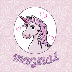 Portrait of a happy pink unicorn for scrapbook design