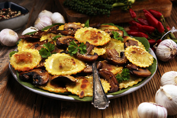 Ravioli with spinach or Pumpkin Tortellini with chard and mushrooms.