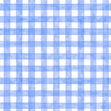 Blue checked watercolor pattern. Fabric background.