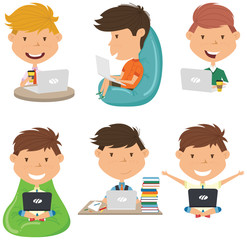 Happy boys learn and do homework by laptops