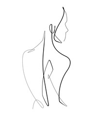Deurstickers One Line Art Female Form Continuous Vector line Graphic