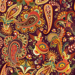 Vector seamless pattern. Indian floral ornament. Colorful decorative wallpaper. Paisley and plants. Vector illustration for web, textile, fabric, cover, print, invitation