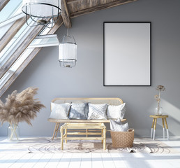 Mock up poster frame in home interior background, Scandinavian Bohemian style living room in attic, 3D render