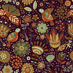 Foto op Aluminium Botanisch Colorful seamless floral pattern. Vector wallpaper with tropical plants and flowers. Colorful illustration for web, textile, fabric, cover, wrapping paper