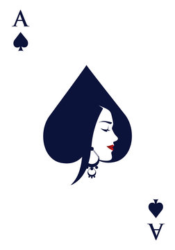 Ace of spades with face of beautiful woman wearing earring