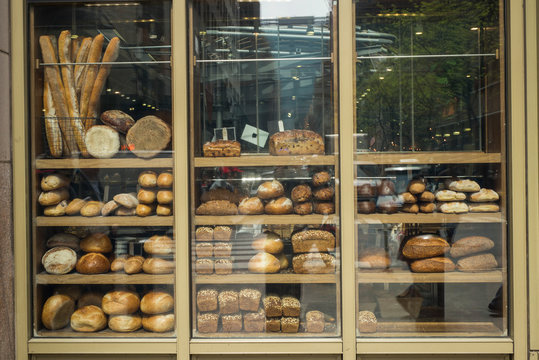 Various type of breads on display at a bakery, New York City, New York State, USA