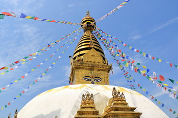 "Swayambhunath Stupa, also called ""Monkey temple"" in Kathmandu in Nepal"