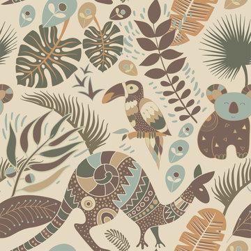 Colorful seamless pattern with australian animals. Decorative aboriginal backdrop