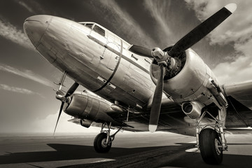 historical aircraft on a runway Wall mural