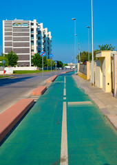 Green colored city cycle path with the specific horizontal and vertical signs, to allow the safety of those who use the bicycle