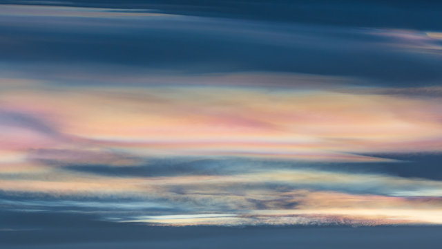 Nacreous (mother of pearl) or polar stratospheric clouds, Northern Iceland