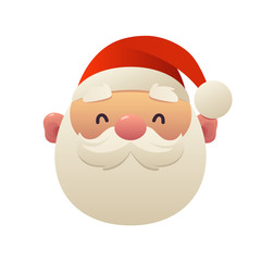 Cute cartoon Santa Claus head on white background