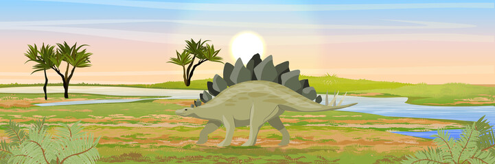 Stegosaurus in the valley with a river. Prehistoric animals and plants. Vector landscape of the Mesozoic or Jurassic period.