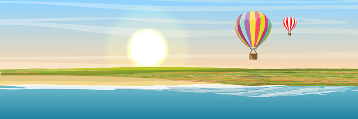 The shore of the lake, glade and sand. Air balloon flying over a green valley. Vector landscape.