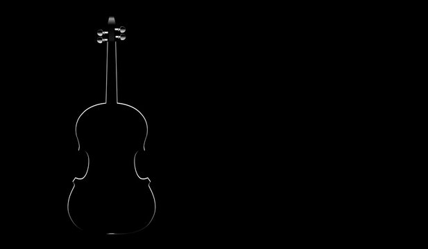 white silhouette of a violin on a black background
