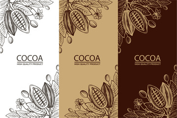 collection of cocoa packages with beans, branch and leaves