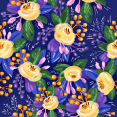Foto op Aluminium Botanisch Colorful floral illustration for textile, wrapping paper, fabric, cover. Hand drawn yellow roses on blue background