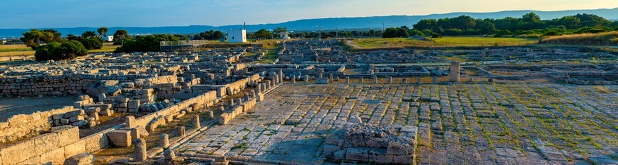 View ruins archaeological area of the ancient settlement of Egnazia, near Sevelletri, Puglia - Italy.In the ancient settlement lived the ancient inhabitants of Puglia, then subjugated by the Romans