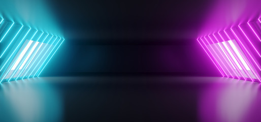 Modern Futuristic Sci Fi Alien Ship Reflective Dark Empty Long Corridor Tunnel With Big White Windows And Purple Blue Abstract Shaped Neon Glowing Lines Background 3D Rendering