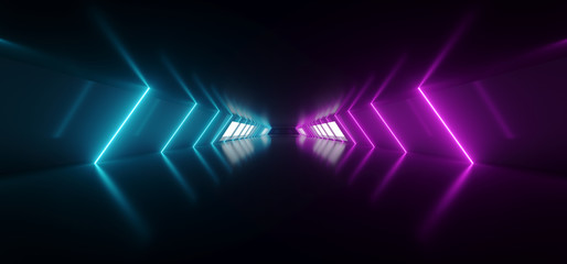 Modern Futuristic Sci Fi Alien Ship Reflective Dark Empty Long Corridor Tunnel With Big White Windows And Purple Blue Triangle Shaped Neon Glowing Lines Background 3D Rendering