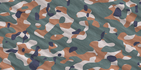 Army Camouflage Background. Military Camo Clothing Texture. Seamless Combat Uniform.