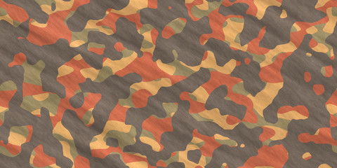 Orange Army Camouflage Background. Military Camo Clothing Texture. Seamless Combat Uniform.