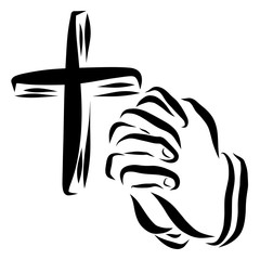 Christian cross and the hands of a person praying, faith in God