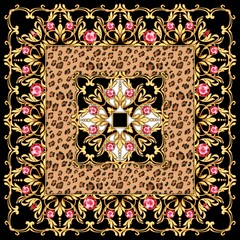 Square composition with gems and leopard print
