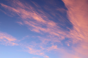Beautiful red cirrus clouds. Background. Landscape.