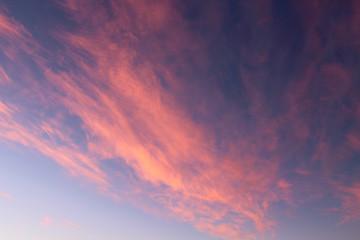 Beautiful thin cirrus clouds. Background. Landscape.