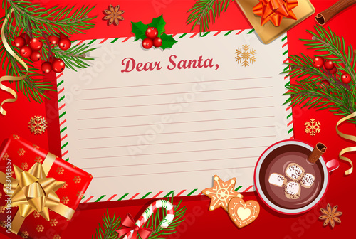 Christmas Template For Letter To Santa Claus With Traditional