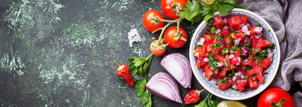 Traditional mexican tomato salsa sauce