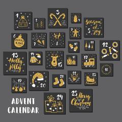 Fototapeta Christmas advent calendar. Hand drawn elements and numbers. Winter holidays calendar cards set design, Vector illustration obraz