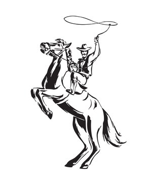 Hand drawn cowboy with lasso on rearing horse. Rodeo vector illustration. Black isolated on white background