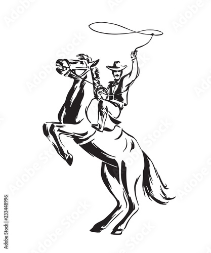 13f7debf Hand drawn cowboy with lasso on rearing horse. Rodeo vector illustration.  Black isolated on white background