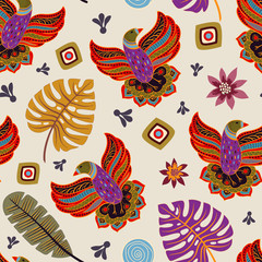 Foto op Aluminium Botanisch Colorful seamless pattern with decorative birds and plants. Nature vector wallpaper for textile, cover, web