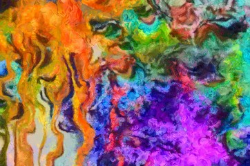 Close up oil paint abstract background. Art textured brushstrokes in macro. Part of painting. Old style artwork. Dirty watercolor texture. Modern pattern. Chaotic splashes. Multi-colors design.
